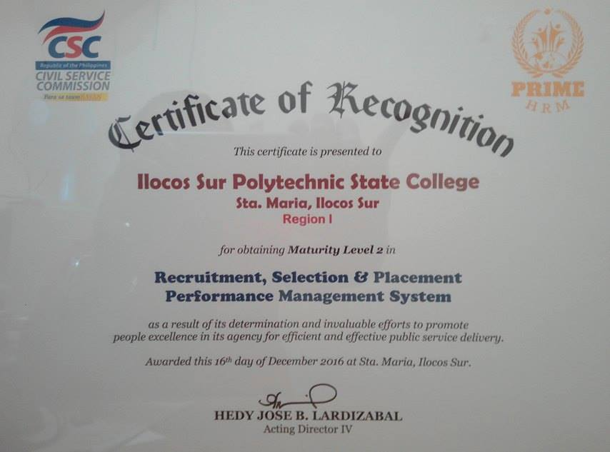 Certificate of recognition awarded to ispsc by the civil service director cecilia bareng of csc ilocos sur field office awarded the certificate during the 19th charter day celebration of ispsc at cervantes yelopaper Gallery