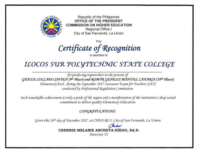 Ispsc recognized ilocos sur polytechnic state college for producing let topnotchers in elementary level last september 2017 ilocos sur polytechnic state college is awarded a certificate of recognition by the yelopaper Images